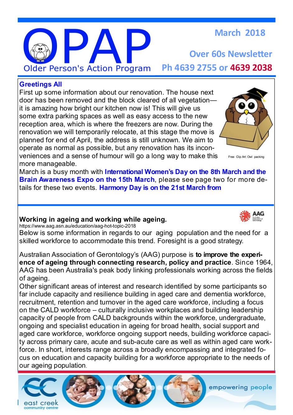 OPAP Newsletter Page 1